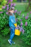 Het leuke aanbiddelijke mooie meisje van de damevrouw met donkerbruin haar op een weide van lilac purpere struik Mensen in jeanss royalty-vrije stock afbeeldingen