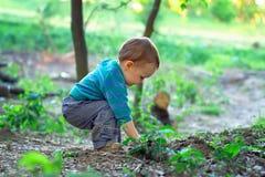 Het leuke babyjongen graven in grond in de lentebos Royalty-vrije Stock Afbeeldingen