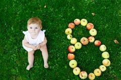 Het leuke babymeisje met nummer 8 als acht maanden maakte met rijpe appelen Royalty-vrije Stock Foto's