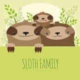 Het leuke beeld van de luiaardfamilie stock fotografie