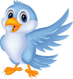 Het leuke beeldverhaal blauwe vogel golven Royalty-vrije Stock Fotografie