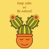 Het leuke beeldverhaal cactus-meisje met uitdrukking houdt kalm en is natuurlijk vector illustratie