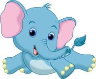 Het leuke beeldverhaal van de babyolifant Stock Afbeelding