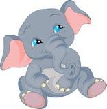 Het leuke beeldverhaal van de babyolifant Stock Foto