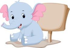 Het leuke beeldverhaal van de babyolifant Stock Fotografie