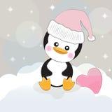 Het leuke beeldverhaal van de groetkaart pinguin met hart op een grijze achtergrond Stock Illustratie