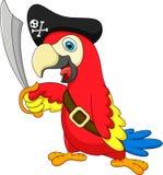 Het leuke beeldverhaal van de papegaaipiraat Royalty-vrije Stock Afbeelding