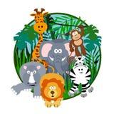 Het leuke Beeldverhaal van de Safari Royalty-vrije Stock Foto's