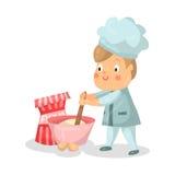Het leuke beeldverhaal weinig karakter van de jongenschef-kok met het mengen van kom en zwaait Illustratie royalty-vrije illustratie