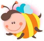 Het leuke bijenbeeldverhaal vliegen Vector geïsoleerde illustratie Royalty-vrije Stock Foto's