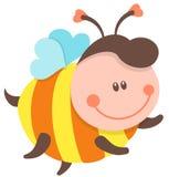 Het leuke bijenbeeldverhaal vliegen Vector geïsoleerde illustratie Stock Foto's