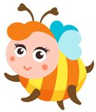 Het leuke bijenbeeldverhaal vliegen Vector geïsoleerde illustratie Royalty-vrije Stock Fotografie