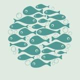 Het leuke blauwe vectorontwerp van de vissencirkel voor kaart stock illustratie
