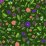 Het leuke Bloemen Naadloze Patroon met hand getrokken krabbel bloeit en gaat in beeldverhaalstijl weg Kinderachtige gelukkige ach Royalty-vrije Stock Foto's