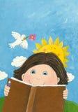 Het leuke boek van de jongenslezing in thepark Stock Foto