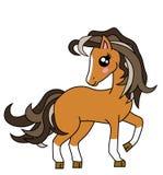 Het leuke Bruine plastiek van het Paardbeeldverhaal stelt ge?soleerd stock afbeeldingen