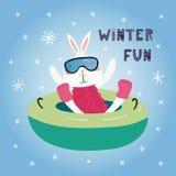 Het leuke buizenstelsel van de konijntjessneeuw in de winter vector illustratie