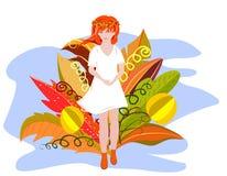 Het leuke de herfstmeisje in een witte kleding die over het gebied met de heldere herfst lopen bloeit Surreal bloemen Vector ontw stock illustratie