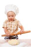 Het leuke deeg van de de kokpizza van jong geitjebroodjes Geïsoleerd op wit Stock Afbeelding