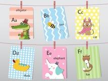 Het leuke dierentuinalfabet met grappige dieren, Brieven, Dierlijk alfabet, leert te lezen, Vectorillustraties stock illustratie