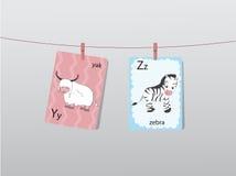 Het leuke dierentuinalfabet met grappige dieren, Brieven, Dierlijk alfabet, leert te lezen, Vectorillustraties royalty-vrije illustratie
