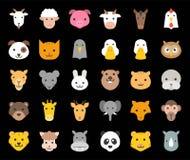 Het leuke dierlijke gezicht omvatte landbouwbedrijf, bos en Afrikaanse dieren, vlak ontwerp stock illustratie