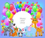 Het leuke dierlijke kader van de verjaardagspartij uw babyfoto vector illustratie