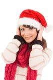 Het leuke donkerbruine stellen met haar handen op hoofd Stock Foto