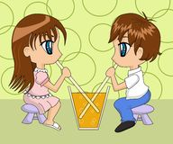 Het leuke Drinken van het Paar van het Beeldverhaal Stock Foto's