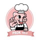 Het leuke embleem van de het vleesglimlach van het varkensvarkensvlees vector illustratie