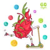 Het leuke en grappige draakfruit berijdt een autoped royalty-vrije illustratie