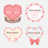 Het leuke etiket van de het hartvorm van het pastelkleur romantische huwelijk Royalty-vrije Stock Foto's