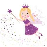 Het leuke fairytale purpere sterren glanzen Stock Afbeelding