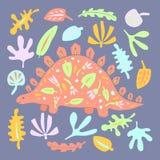 Het leuke getrokken vectorkarakter van de dinosauruskleur hand vector illustratie
