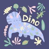 Het leuke getrokken vectorkarakter van de dinosauruskleur hand stock illustratie