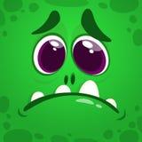 Het leuke gezicht van het beeldverhaalmonster Vector geïsoleerde illustratie van groen monster Royalty-vrije Stock Afbeelding