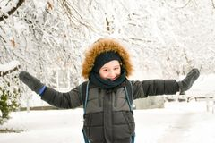 Het leuke het glimlachen jongen spelen met sneeuw stock afbeeldingen