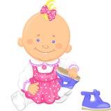 Het vector leuke babymeisje leert om op degenenschoenen te zetten Royalty-vrije Stock Afbeelding