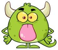 Het leuke Groene Karakter van Emoji van het Monsterbeeldverhaal Stock Foto