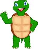 Het leuke groene schildpadbeeldverhaal golven Stock Foto's