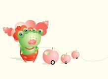 Het leuke groene worm spelen met geknaagde aan appelen Royalty-vrije Stock Fotografie