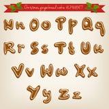 Het leuke hand getrokken alfabet van het Kerstmiskoekje Stock Foto