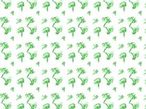 Het leuke hand getrokken patroon van krabbelbroccoli stock afbeelding
