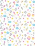 Het leuke Hand Getrokken Patroon van Snoepjesvectorn Suikergoed, Roomijs, Muffins, Donuts Witte achtergrond Roze Harten en Gele S vector illustratie