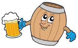 Het leuke houten bier van de vaatjeholding Stock Afbeelding