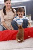 Het leuke jong geitje en mamma spelen met konijn Royalty-vrije Stock Foto