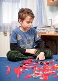 Het leuke jong geitje spelen met plastic blokken Stock Afbeelding
