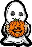 Het leuke Jonge geitje van Halloween in het Kostuum van het Spook Royalty-vrije Stock Afbeeldingen