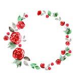 Het leuke kader van de waterverfbloem Achtergrond met rode rozen Stock Afbeeldingen