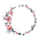 Het leuke kader van de waterverfbloem Achtergrond met roze rozen Royalty-vrije Stock Foto's